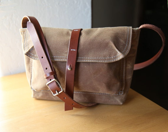 Waxed Canvas and Leather Satchel // Saddle Brown // Weather Resistant // Organic Cotton Canvas Lining