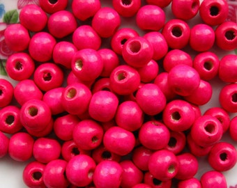 9mm Pink Wooden Beads - Over 100 - 9mm Glossy Magenta Wood Beads, Lead Free (WBD0027)