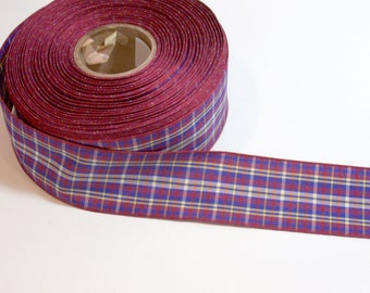Plaid Ribbon, Columbus Navy Blue and Burgundy Plaid Wired Ribbon 1 1/2 inches wide x 6 yards, 50% Off Sale