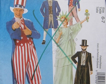 McCalls Childrens Costume Pattern Lincoln Uncle Sam Liberty M6143