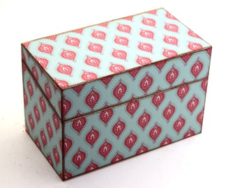 Recipe Box Wedding Guest Book Blue and Red Fits 4x6 Cards Ready To Ship