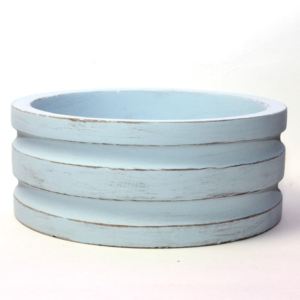 Wood Bowl Distressed Light Blue Chalk Paint Large Bowl Painted