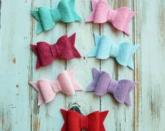 Chunky Wool Blend Felt Bows Medium - Vintage Valentine Collection - Set of 14