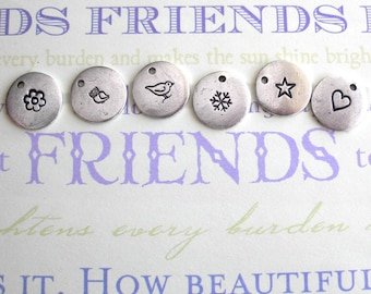 """Wildlife Woodland Friends .. Mini Charm silver, copper or gold..1/2"""" tag.. Perfect for BFF gifts.. fun friends party favor animals pawprint"""