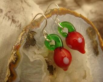 Radish Earrings - Lampwork Glass