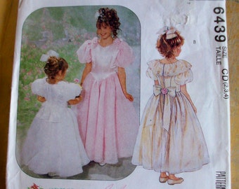 McCall's 6439 Girls Special Occasion dress with attached petticoat Sewing Pattern