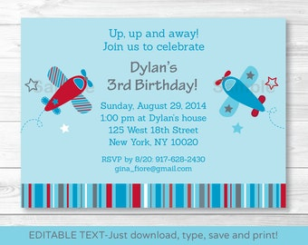 Cute Airplane Birthday Invitation / Airplane Birthday Invite / Blue & Red / Any Age / INSTANT DOWNLOAD Editable PDF Any Age