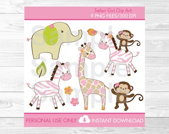 Safari Girl Jungle Animal Clipart PERSONAL USE Instant Download