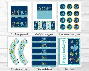 Under the Sea Birthday Party Package / Nautical Birthday / Under The Sea Decorations / Sea Animals / Baby Boy / INSTANT DOWNLOAD A279