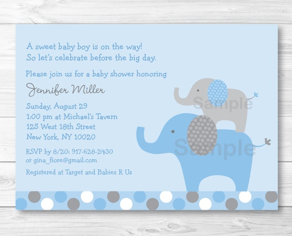 Cute Elephant Baby Shower Invitation / Elephant Baby Shower Invite / Polka Dot Pattern / Blue & Grey / Baby Boy / PRINTABLE