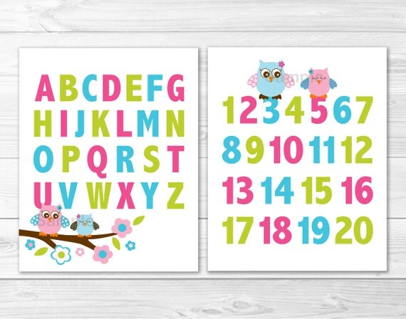Cute Owl Nursery Wall Art / Owl Nursery Wall Art / Alphabet Wall Art ...