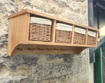 Oak Shaker style Basket Coat Racks