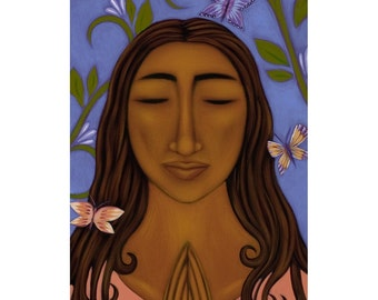 Butterfly Goddess Ethnic Folk Art Print of Painting By Tamara Adams