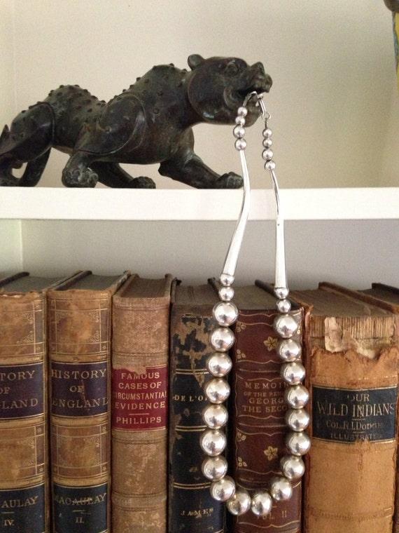 Coriz Puebloan Silver Bead Necklace Native American Antique