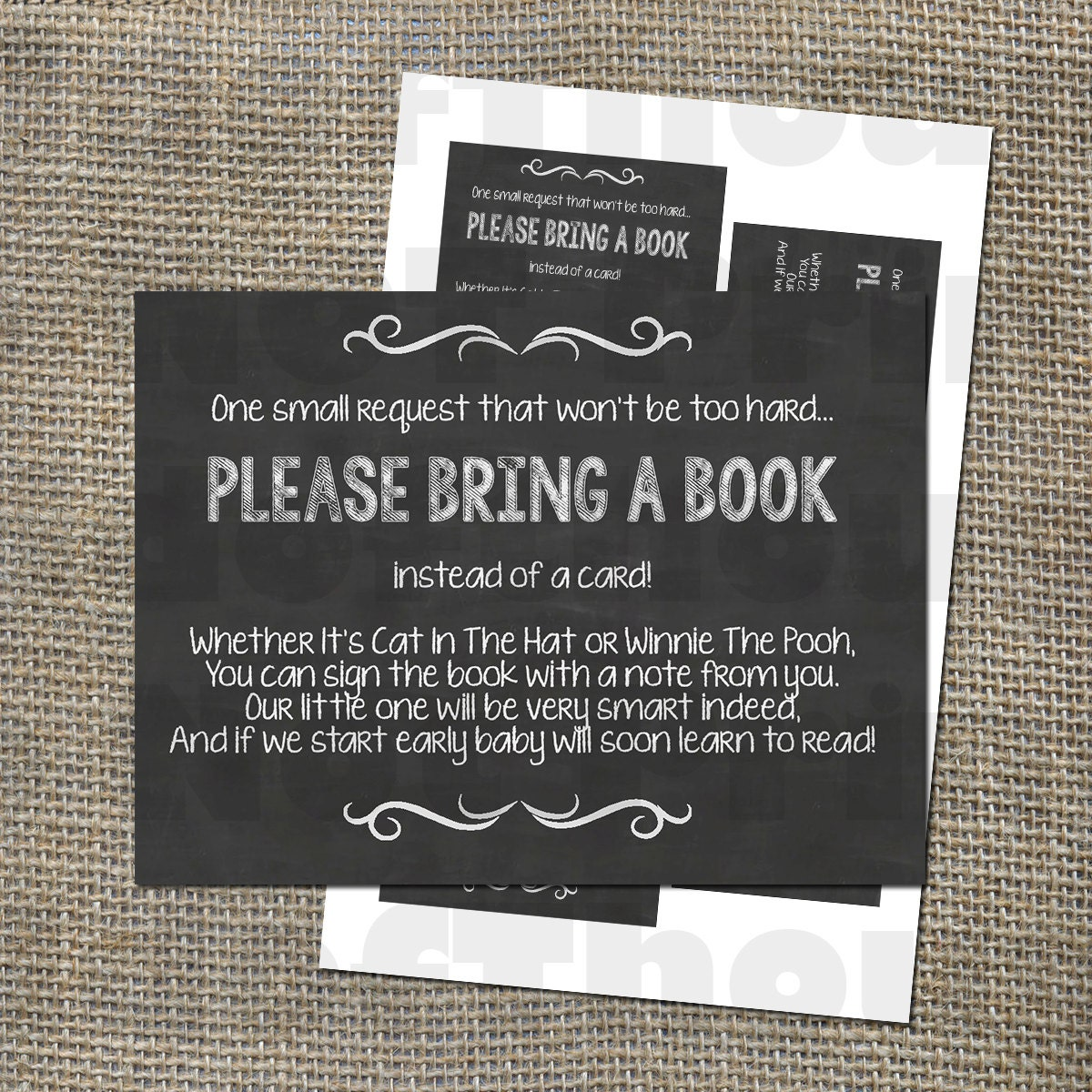 Comprehensive image in bring a book instead of a card printable