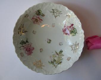 Vintage Pink Rose Porcelain Serving Bowl - Cottage Chic