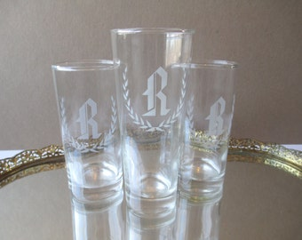 Vintage Monogram R Etched Glass Tumbler Trio - Retro