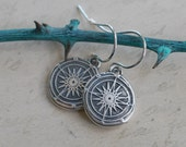 compass dangle earrings - compass wax seal earrings ... guidance, navigation, direction - nautical gift - sterling silver wax seal jewelry