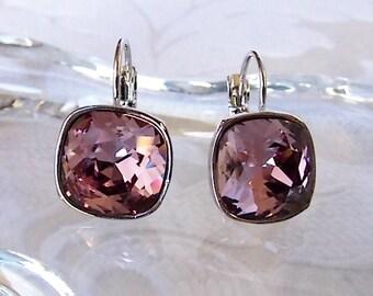 Antique Pink Crystal Drop Earrings made with Cushion Cut Swarovski Blush Rose Rhinestones for Bridesmaid Wedding Jewelry