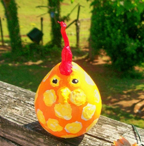 Chick Egg Yolk Handpainted Gourd Ornament