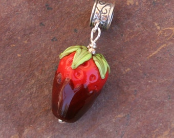 European Style Chocolate Covered Strawberry Lampwork DeSIGNeR Pendant or Bracelet Charm Shortcake Fruit