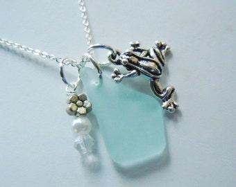 Frog Beach Glass Necklace Aqua Sea Glass Jewelry