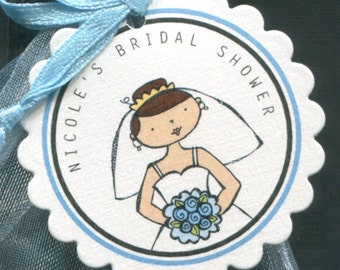 Personalized Bridal Shower Favor Tags, bride blue bouquet, dark hair G9001, set of 25