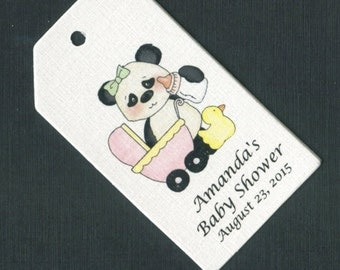 Personalized Baby Shower Favor Tags, rectangular, panda bear with pink buggy, set of 50