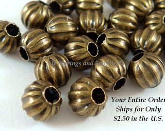 50 - 6mm Bronze Ribbed Bead Antique NF, 6mm, 2mm Hole - 50 pc - M7011-AB6mm50