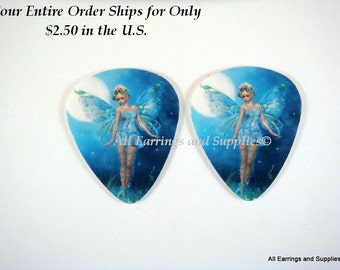 2 Fairy Guitar Pick Single Sided - Fairy of the Moonlight - 2 pc - 6108 - Buy 5 designs, get 1 Free