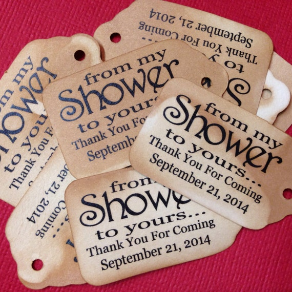 "From My Shower to Yours Choose your quantity SMALL 2"" Favor Tag"