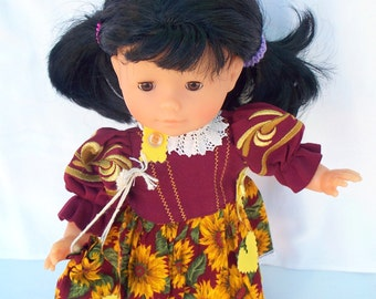 15 inch doll clothes 16 inch doll clothes Summer Sunflowers Dress with Shopping Bag
