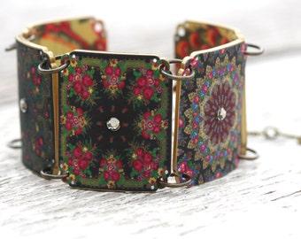Russian Bohemian Printed Shrink Plastic Chain Link Bracelet Jewelry Pink Black Hot Pink Pavlovsky Rhinestone Kaleidoscope Folk Art Jewelry