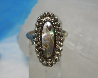 Vintage Abalone Ring Size 8 Adjustable