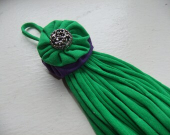Decorative Cotton Tassel/Key Ring - Stocking Stuffer - Green
