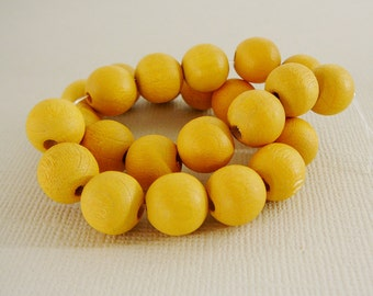 Vintage .. Wood Beads, 10mm Lemon Yellow Bead Jewelry Supplies Beading