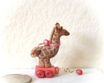 Giraffe Pull Toy Miniature Hand Sculpted Detail Painted OOAK 1 Inch Dollhouse Child's Toy
