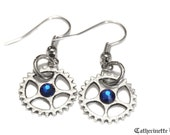 Steampunk Earrings - Silver Gear and Capri Blue Swarovski Crystal