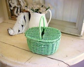 """Jadite Green Jadeite Tiny 6"""" Tall Basket with Lid Lunch Pail"""