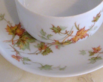 Theodore Haviland & Co Limoges France Autumn Leaf Fall Leaves Cup and Saucer Teacup