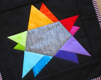 RAINBOW STAR Mini Quilt from Quilts by Elena  Wall Hanging