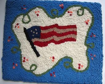 Primitive Hooked Rug Vintage FLAG from Quilts by Elena 100% Wool Original Design