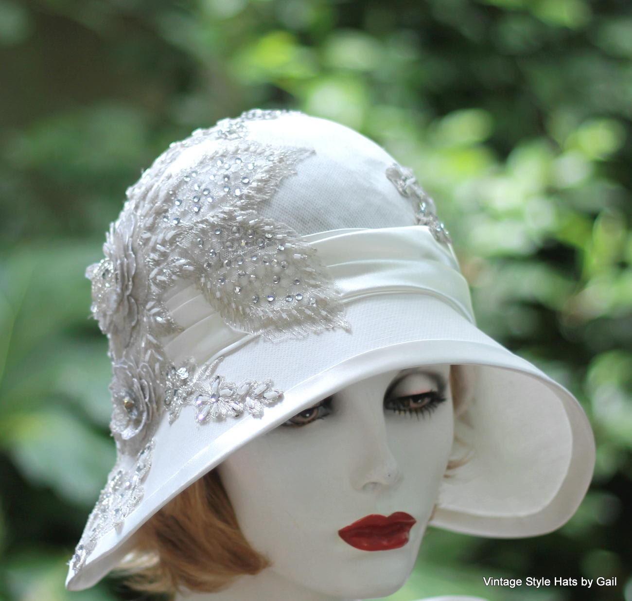 20's Bridal Hat Wedding Vintage Style Wedding Silver