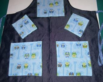 Denim Owl Apron - 2 Pocket Baking Apron - Blue Denim Apron - Cute Owl Apron - Baking Apron - Art Smock - Apron With Pockets