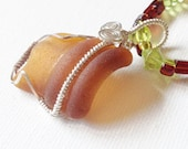 Brown Bottle Sterling Silver Wire Wrapped Sea Glass with Glass Beaded Necklace