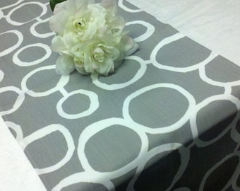 GREY TABLE RUNNER Storm Grey and White on Gray Geo Circles Freehand Links Wedding Bridal Runner