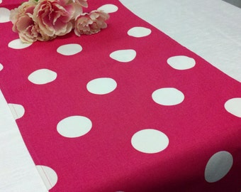 """POLKA DOT RUNNER Large Dots 1-7/8""""  large size white Polka Dots On fuchsia hot pink party, shower  Wedding Bridal Home Birthday Party Runner"""