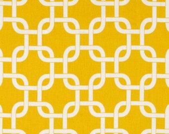 """SAMPLE SALE- RUNNER 31-40""""  white on yellow chain print geometric Table runner rpst"""