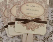 Wedding Favors - Wedding Fans - Rustic Wedding - Vintage Wedding - Lace Country Fans - Personalized Hand Fans