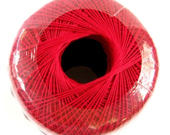 Aunt Lydias Classic Crochet Cotton Thread, CARDINAL RED, size 10, Blood red
